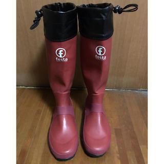 長靴 レインブーツ ★赤★ 大雨 野外フェス 田植え等に 23.5cm〜25cm(レインブーツ/長靴)