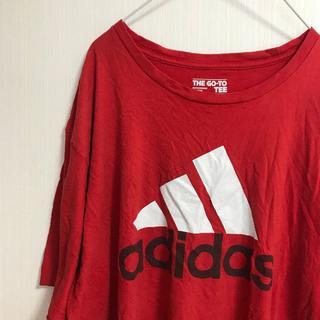 アディダス(adidas)のアメリカ古着!TシャツXL adidas 赤 オーバーサイズ [648](Tシャツ/カットソー(半袖/袖なし))