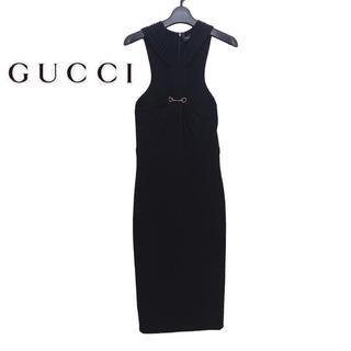 グッチ(Gucci)の【新品】GUCCI グッチ フロントクロスワンピース タイト ドレス ブラック(ロングワンピース/マキシワンピース)
