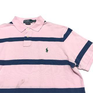 ラルフローレン(Ralph Lauren)の90's Ralph Lauren ラルフ半袖ポロシャツ ボーダー ピンク XL(ポロシャツ)