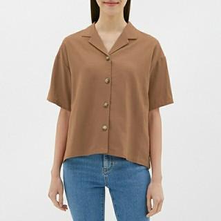 ジーユー(GU)のGU ジーユー リネンブレンドオープンカラーシャツ(シャツ/ブラウス(半袖/袖なし))