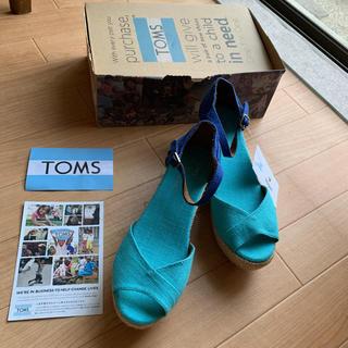 TOMS - 新品 トムズ TOMS 配色 バイカラー ウェッジ サンダル リネン 麻  24