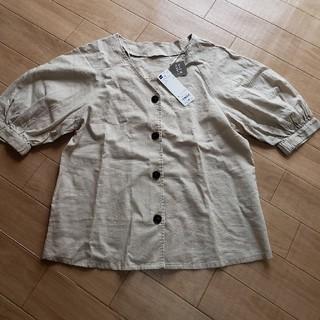 ジーユー(GU)のGU リネンブレンドフロントボタンブラウス(シャツ/ブラウス(半袖/袖なし))