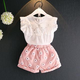 韓国子供服 花柄 セットアップ(ワンピース)