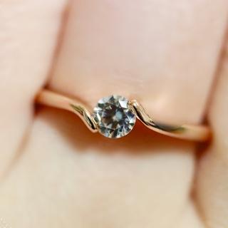 即購入OK●高品質*czダイヤモンドのシンプル一粒ピンクゴールドカラーリング指輪(リング(指輪))