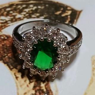 シャネル(CHANEL)の15号 グリーンキュービックダイアモンドホワイトリング(リング(指輪))
