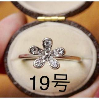 即購入OK●ラインストーンのシルバーカラーフラワー花リング大きいサイズ(リング(指輪))