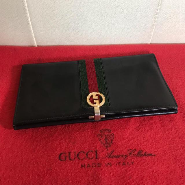 Gucci - 美品 GUCCI オールド グッチ シェリーライン レザー 長 財布 ブラックの通販 by Safari|グッチならラクマ