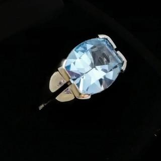 大きめのブルートパーズ 色が綺麗なしっかりリング♥️ K18WG(リング(指輪))