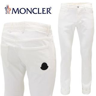 モンクレール(MONCLER)の【2】MONCLER『希少 レア』ホワイト ロゴワッペン デニム 52(デニム/ジーンズ)