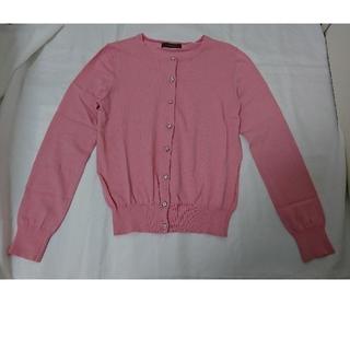 ジャスグリッティー(JUSGLITTY)のJUSGLITTY  ジャスグリッティー美品ピンク色カーディガン サイズ2(カーディガン)