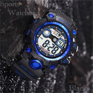 スポーツ腕時計 LED デジタル 腕時計 ミリタリー 耐久性 スポーツ  ブルー(腕時計(デジタル))