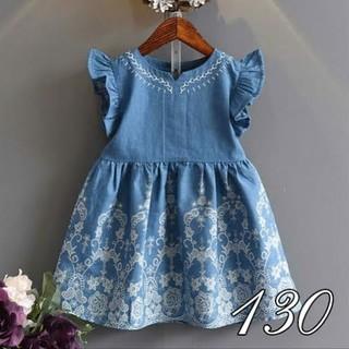 [130] ソフトデニム風 刺繍ドレス(ワンピース)