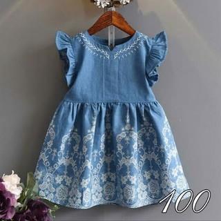 [100] ソフトデニム風 刺繍ドレス(ワンピース)