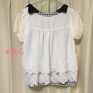 ミスティウーマン(mysty woman)の刺繍ブラウス+肩リボンギンガムタンク(Tシャツ(半袖/袖なし))
