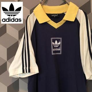 アディダス(adidas)の【アディダス】希少 襟付き 袖三本ライン トレフォイルロゴ プリント Tシャツ(Tシャツ/カットソー(半袖/袖なし))