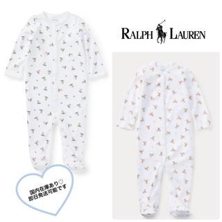 Ralph Lauren - ラルフローレン ポロベアカバーオール 65 70 ピンクベア