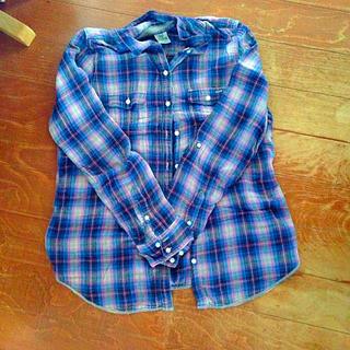 ヴィクトリアズシークレット(Victoria's Secret)のPINK♡チェックシャツ(シャツ/ブラウス(半袖/袖なし))