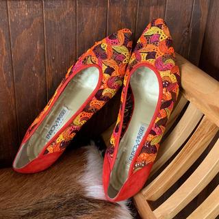 70's伊!ENRICA MASSEI!オレンジ刺繍パンプス 25cm!(ハイヒール/パンプス)