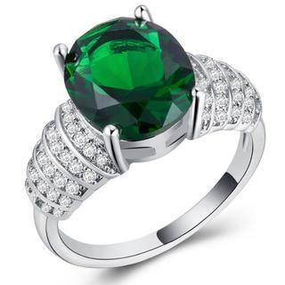 新品美品ファッションリングネックレスエメラルドグリーンプラチナコーティングセット(リング(指輪))