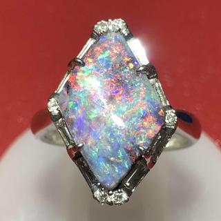 pt900 プラチナ900 ボルダーオパール オパール ダイヤモンド リング(リング(指輪))