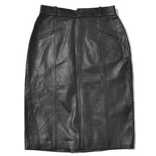 バーバリー(BURBERRY)の◇Burberrys◇size42 Leather skirt black(ひざ丈スカート)
