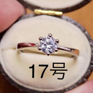 即購入OK●王道デザイン*一粒czダイヤモンドシルバーリング指輪大きいサイズ6爪(リング(指輪))