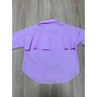 シマムラ(しまむら)の紫 パープル ラベンダー 後ろフリル シャツ(シャツ/ブラウス(半袖/袖なし))