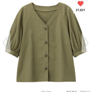 ジーユー(GU)のリネン五分袖シャツ(シャツ/ブラウス(半袖/袖なし))