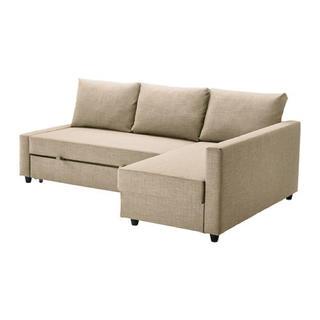 イケア(IKEA)のIKEA FRIHETEN フリーヘーテン ソファベッド スキフテボーベージュ(三人掛けソファ)