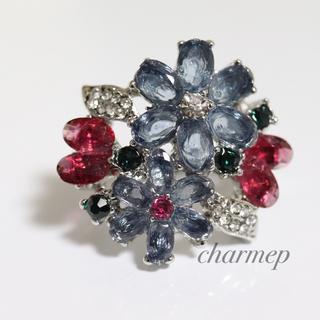 即購入OK●訳あり薄紫のお花のゴージャスリング指輪大きいサイズ(リング(指輪))