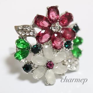 即購入OK●訳あり赤と白のお花のゴージャスリング指輪大きいサイズ(リング(指輪))
