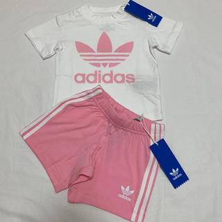 ベビーギャップ(babyGAP)の新品 アディダス オリジナルス 半袖 Tシャツ パンツ セット 80 ピンク(その他)