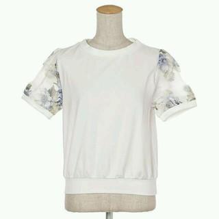 ミスティウーマン(mysty woman)の花柄オーガンジートップス(Tシャツ(半袖/袖なし))