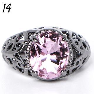 P1 リング 14号 人工石 ピンクサファイア ブラックゴールド(リング(指輪))