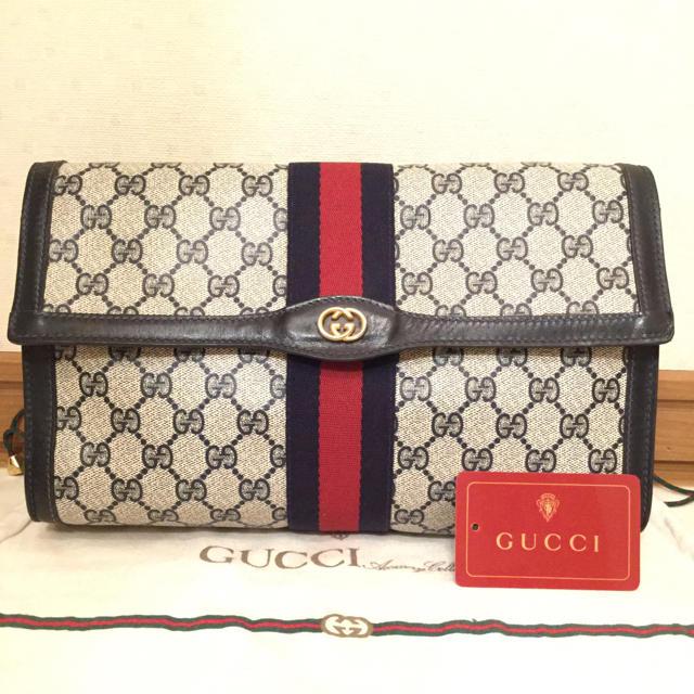 Gucci - 極美品♡希少ネイビー オールド GUCCIグッチ クラッチバッグ セカンドバッグの通販 by とも's shop|グッチならラクマ