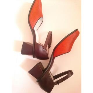 バレンシアガ(Balenciaga)の新品◆バレンシアガ パンプス ストラップ ハラコ ダブルスクエア(ハイヒール/パンプス)