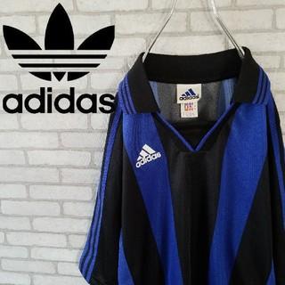 アディダス(adidas)の希少 90S アディダス ゲームシャツ  ストライプ  オーバーサイズ(Tシャツ/カットソー(半袖/袖なし))