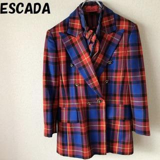エスカーダ(ESCADA)のミースケさん専用エスカーダ シルクシャツ付チェックジャケット 高級(テーラードジャケット)