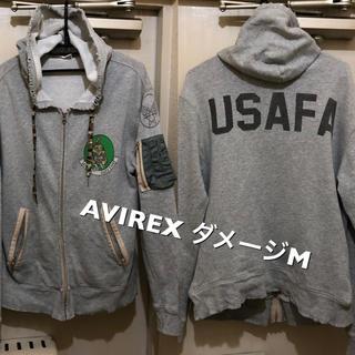 アヴィレックス(AVIREX)のMサイズ!AVIREX アヴィレックス 古着ジップアップスウェットパーカー (パーカー)