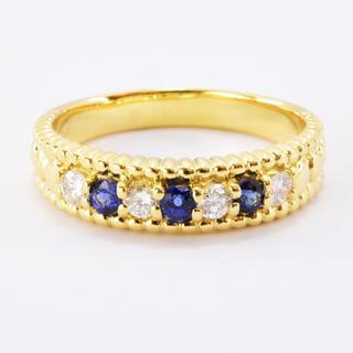 クイーン ダイヤモンド サファイア 19号 リング 750 K18 新品仕上げ(リング(指輪))