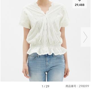 ジーユー(GU)のプランク様専用 レーストップス GU(シャツ/ブラウス(半袖/袖なし))