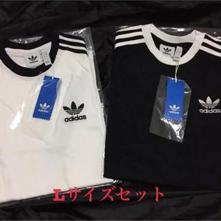 アディダス(adidas)のアディダス オリジナルス 3ストライプ 半袖 Tシャツ 白黒 2枚セット L(Tシャツ/カットソー(半袖/袖なし))