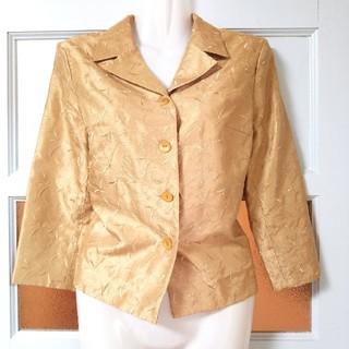 ノーリーズ(NOLLEY'S)のノーリーズ ゴールド 春夏 繊細な総刺繍の七分袖テーラードジャケット S~M(テーラードジャケット)