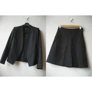 セオリー(theory)のtheory ノーカラー セットアップ スーツ サイズ0 黒(ノーカラージャケット)