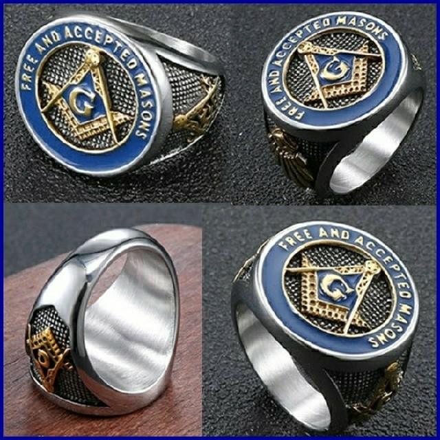 ♠ブルー フリーメイソン 秘密結社 ステンレス カレッジリング バイカーリング メンズのアクセサリー(リング(指輪))の商品写真