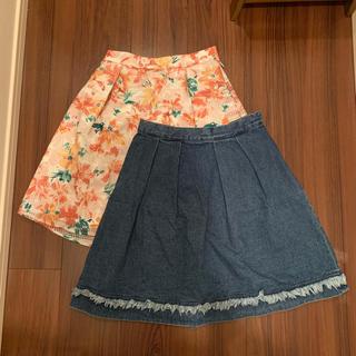 マーキュリーデュオ(MERCURYDUO)の美品 マーキュリーデュオ 2枚セット スカート デニム 花柄(ミニスカート)
