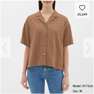 ジーユー(GU)のリネンブレンドオープンカラーシャツ GU(シャツ/ブラウス(半袖/袖なし))