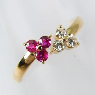K18 ルビー ダイヤモンド リング 10号[f20-2](リング(指輪))