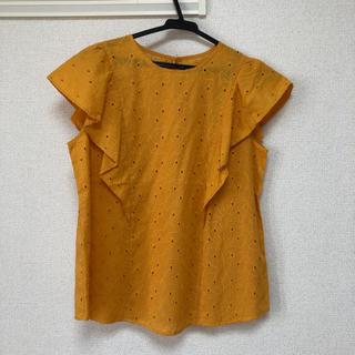 ジーユー(GU)のGU コットンレース フリルスリーブブラウス 半袖(シャツ/ブラウス(半袖/袖なし))